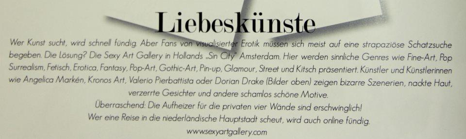 Nämns i den tyska erotiska tidningen Alley Cat Magazine (målgrupp kvinnor)